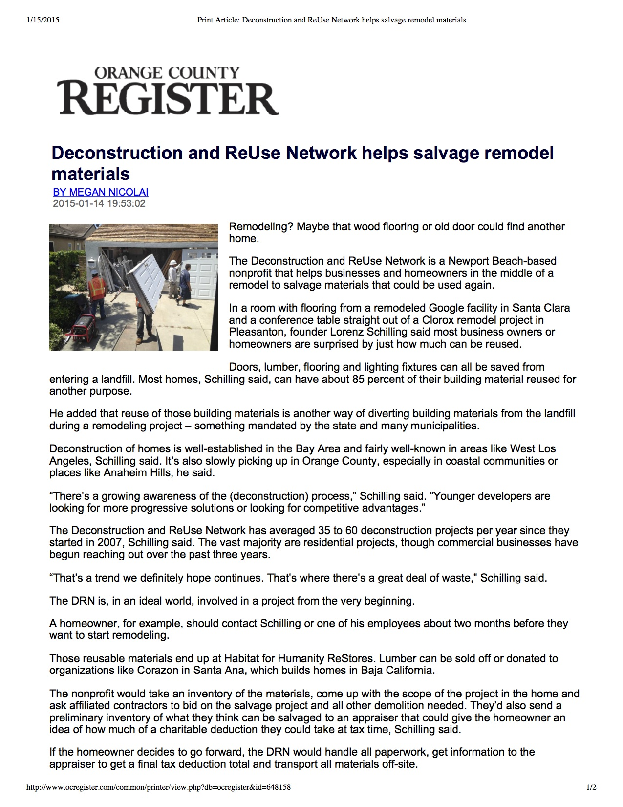 01-15-15 Print Article_ Deconstruction and ReUse Network helps salvage remodel materials