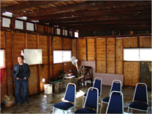 A school room in Baja constructed of salvaged lumber.